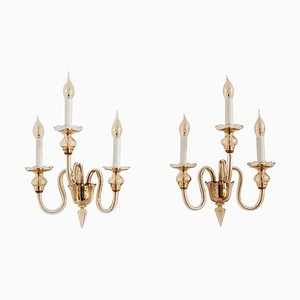 Italian Three-Arm Wall Sconces in Amber Murano Crystal Glass and Brass, 1970s, Set of 2