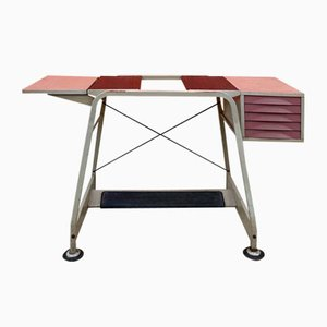 Industrial Typist's Desk in Metal with Drawers and Adjustable Foot from Olivetti, 1970s