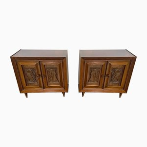 Futurist Style Bedside Tables with Carved Panels, 1940s, Set of 2