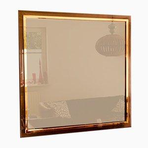 Postmoderner quadratischer Bronze Spiegel von Belgo Chrom, Belgien, 1980er