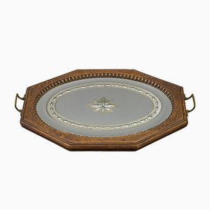 Octagonal Wood Serving Tray with Oval Etched Mirror Base