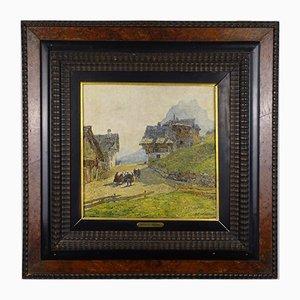 Angelo Pavan, Mountain View, Öl auf Tafel, 1920er