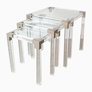French Lucite Nesting Tables, 1970s, Set of 3