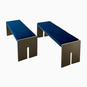 Wooden Benches with Seats Reupholstered in Blue Velvet, 1960s, Set of 2