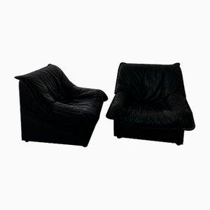 Schwarze Ledersessel, 1980er, 2er Set