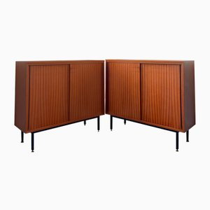 Teak Credenzas with Brass and Iron Ferrules & Internal Shelves, 1960s, Set of 2