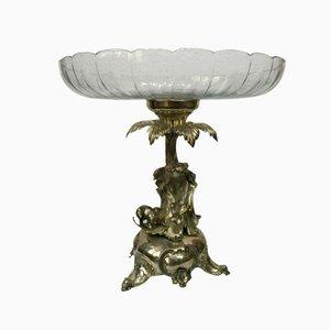 Antike Obstschale aus Silber & Kristallglas