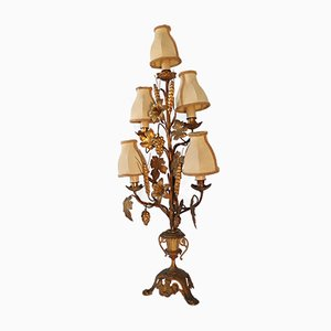Large Candelabra Church Lamp with Flowers, Grapes, Vine Leaves and Ears of Corn, 1800s