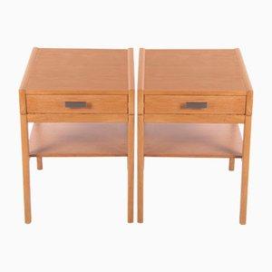 Oak Swedish Bedside Tables, 1960s, Set of 2