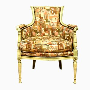 Wide Directoire Bergere Chair in Lacquered Wood