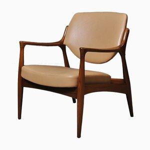 Scandinavian Teak & Leather Lounge Chair