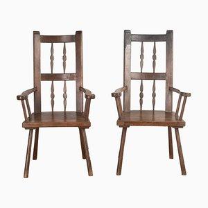 19th-Century Spanish Primitive Chairs, Set of 2