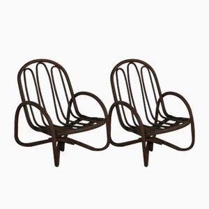 Wicker and Bamboo Outdoor or Indoor Armchairs, Set of 2
