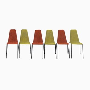 Chairs in Woven and Colored Iron, Italy, 1960s, Set of 6