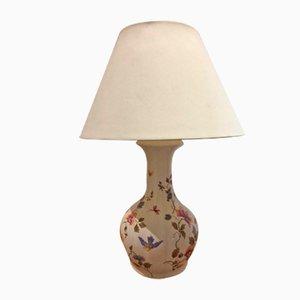Steingut Lampe mit Vogel und Blumen Dekoration