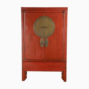 Chinese Red Lacquered Wedding Cabinet