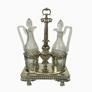 French Antique Crystal Bottles & Silver Tray, 1830s