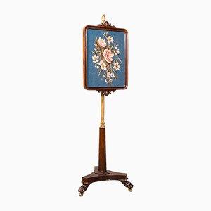 Antique English Fireside Pole Screen, 1830s