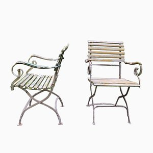 Antike Gartenstühle aus patiniertem Gusseisen mit Rollen, 2er Set
