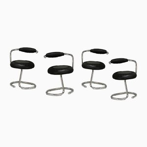 Tubular Steel Chairs in Black Leatherette, Italy, 1970s, Set of 4