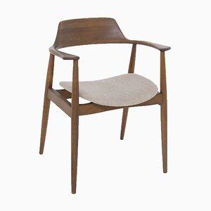 Amerikanischer Mid-Century Armlehnstuhl aus Holz und Stoff im Stil von Phillip Lloyd Powell