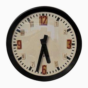 Horloge d'École Industrielle en Bakélite de Pragotron, 1960s