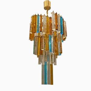 Großer mehrfarbiger Kronleuchter mit Prismen aus Muranoglas von Paolo Venini, 1970er