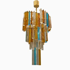 Large Multi Colored Murano Glass Prism Chandelier by Paolo Venini, 1970s