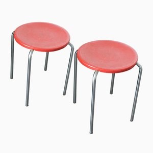 Red Stools by Pierre Guariche for Meurop, 1960s, Set of 2