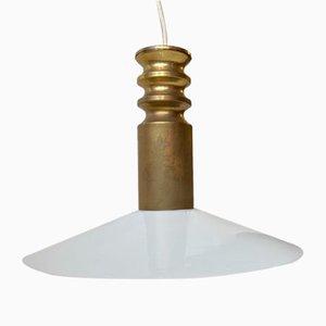 Mid-Century Brass & Opaline Pendant Lamp from Frimann, 1970s