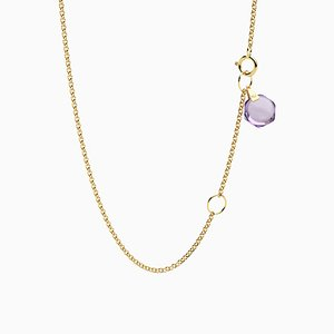 Minimalist Dainty 18k Yellow Gold Chain Necklace with Small Natural Amethyst Charm by Rebecca Li