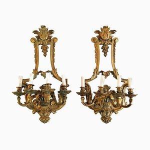 Renaissance Wandleuchten aus Bronze, Italien, 2er Set