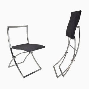 Italian Chrome Folding Chairs by Marcello Cuneo, 1970s, Set of 2