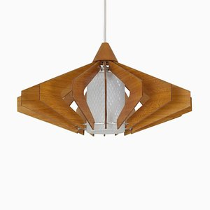 Wooden Pendant Lamp by Drevo Humpolec, 1970s
