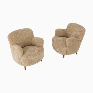 Scandinavian Mid-Century Lounge Chairs in Sheepskin, Set of 2