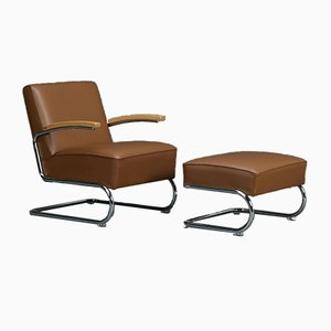 Thonet S411 Brown Leather Lounge Armchair and Ottoman Set, Set of 2