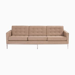 Beige Fabric Relaxed Three Seater Sofa by Florence Knoll for Knoll