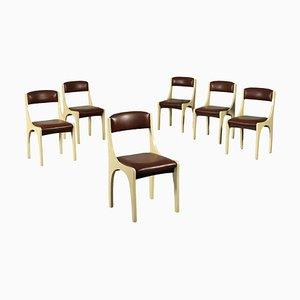 Stühle aus Schaumstoff, Holz, Pergament & Polyester von Aldo Tura, Italien, 1960er, 6er Set