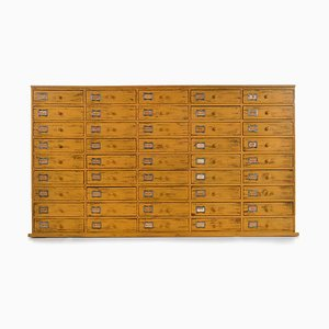 Workshop Cabinet with 45 Yellow Patinic Wood Drawers