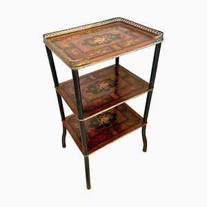 Antique Victorian French Marquetry Inlaid Etagere