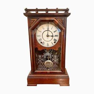 Antique Victorian Walnut Mantel Clock