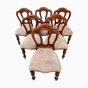 Antique Victorian Mahogany Dining Chairs, Set of 6