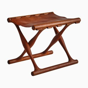 Danish Gold Hill Stool in Oak and Saddle Leather by Poul Hundevad, 1960s