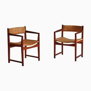 Scandinavian Teak and Rattan Cane Armchairs by Hvidt & Molgaard for Søborg Møbelfabrik, 1957, Set of 2