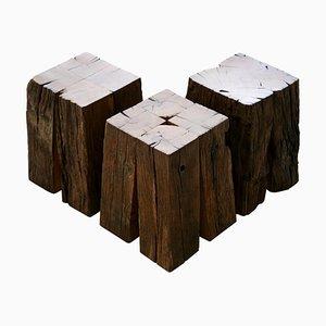 Ensemble of Ancient Normandy, Oak Stool Tables by Timothée Musset, Set of 3