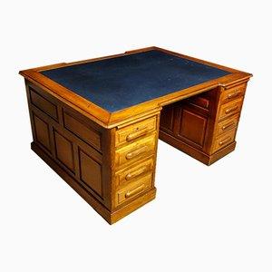 Bureau Double Antique avec Insert en Cuir Bleu
