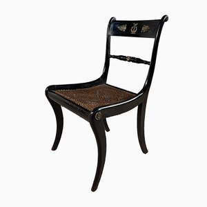 Früher Antiker Regency Stuhl aus Ebonisiertem Schilfrohr & Mahagoni