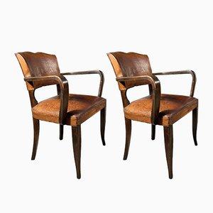 Antique French Leather Moustache Back Bridge Chair