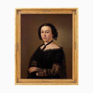 Alois Julius Paschek, Porträt einer Dame in Schwarz, Öl auf Leinwand, 19. Jh