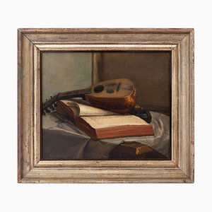 Emile Bussier, Still Life with Mandolin & Book, Oil on Canvas